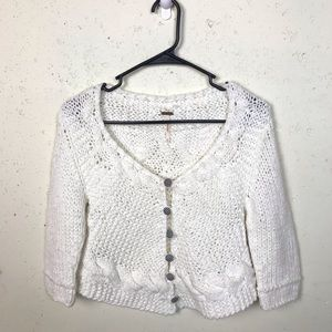 Free People Gingham Button Crop Sweater Small